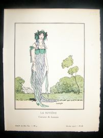 Gazette du Bon Ton by Carlegle 1913 Art Deco Pochoir. La Riviere